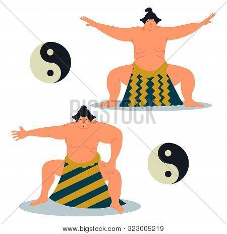 Set Of Two Sumo Character. Sumo Sportsmans. Sumo Wrestler Design. Vector Illustration On White Backg