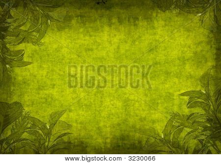 Grunge Background With Green Leaves