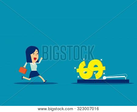 Businesswoman Running Into Mousetrap. Concept Business Vector Illustration, Money And Currency, Trap
