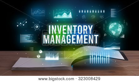 INVENTORY MANAGEMENT inscription coming out from an open book, creative business concept