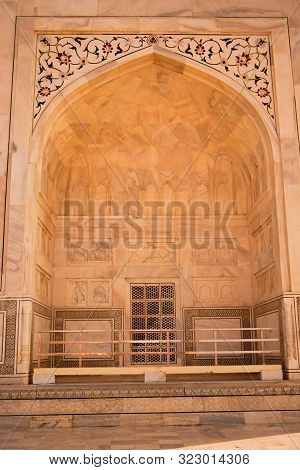 Agra, India - 16 September 2019: Abstract Background Of Architectural Details Of Mosque, Islamic Arc