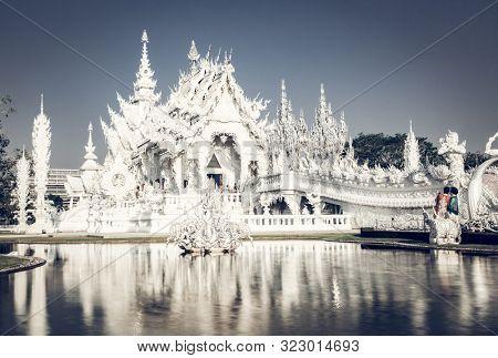CHIANG RAI, THAILAND - FEBRUARY 2019: wat Rong Khun The famous White Temple in Chiang Rai, Thailand