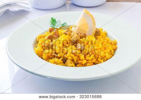 Homemade Spanish Rice Paella With Pork And Veggies