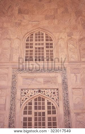 Gra ,india - 16 September 2019: Abstract Background Of Architectural Details Of Mosque, Arabic Calli
