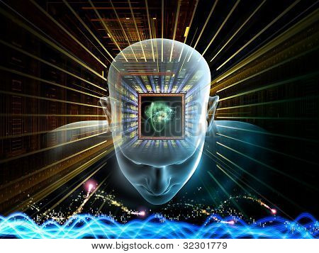 Collage of human head scientific formulas and various abstract elements on the subject of artificial intelligence modern science computer technology and human and artificial mind poster