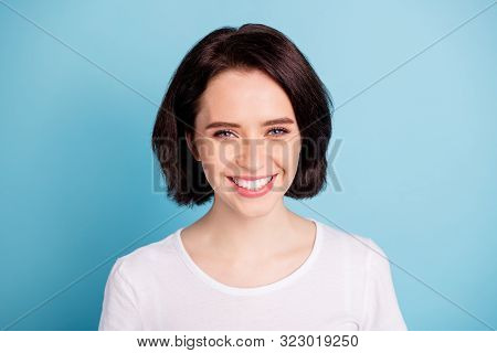Close-up Portrait Of Her She Nice Attractive Lovely Charming Cute Cheerful Cheery Girl Isolated Over