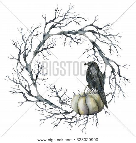 Watercolor Halloween Wreath With Crow And Pumpkin. Hand Painted Holiday Template With Tree Branch, R