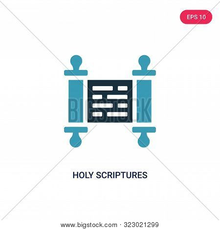 holy scriptures icon in two color design style.