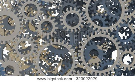 3d Gear Wheel On White Background. 3d Illustration