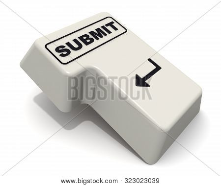 The Enter Key Labeled Submit Word. Computer Enter Key With Black Word Submit Isolated On White Backg