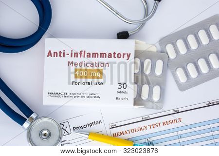 Anti-inflammatory Medication Or Drug Concept Photo. On Doctor Table Lies Open Packaging Labeled