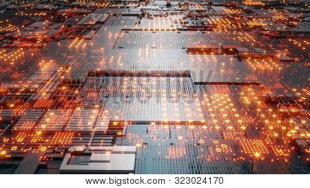 Abstract Futuristic Design. Tech Wall With Red Bright Elements. Dof Effect. 3d Illustration