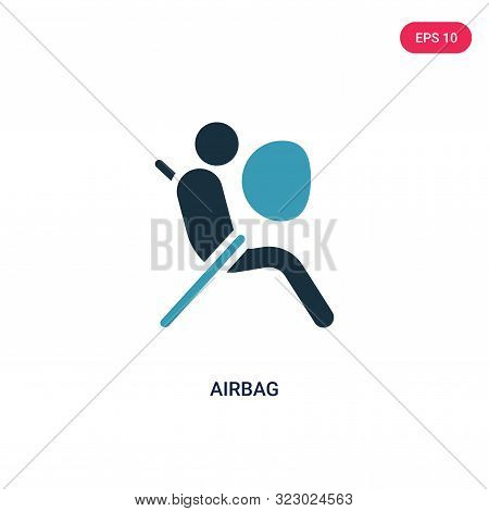 airbag icon in two color design style.