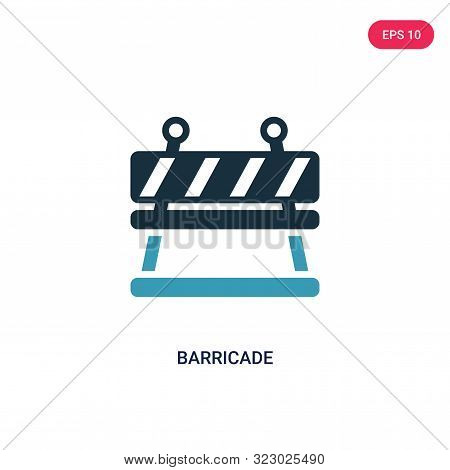 barricade icon in two color design style.