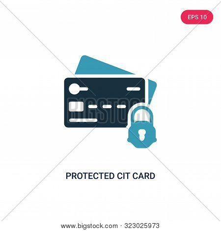 protected cit card icon in two color design style. poster