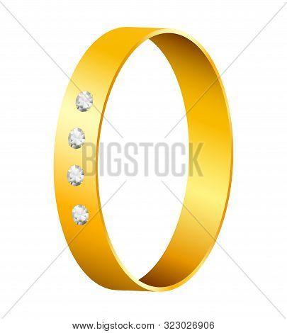 Gold Ring With Brilliant Diamonds. Elegant Golden Decoration Element On White Isolated Background.
