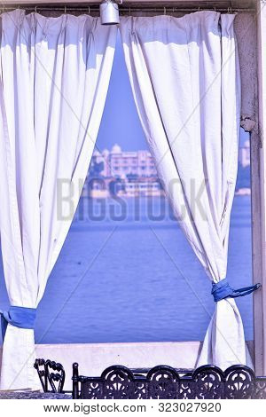 Abstract Background Of View Of Sea From Window, White Curtains By Window