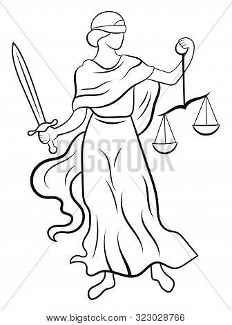 Themis Or Justice - Goddess Of Order, Fairness, Law From Ancient Hellenic Myths. Black And White Ill