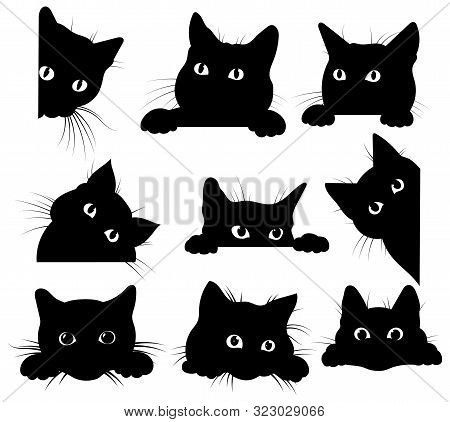 Set Of Black Cats Looking Out Of The Corner. Collection Of Cat Faces That Spy On You. Playing Pets.