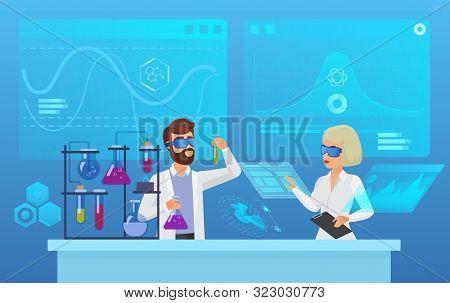 Scientific Futuristic Laboratory Research Flat Vector Illustration. Biochemistry, Pharmacy, Biotechn