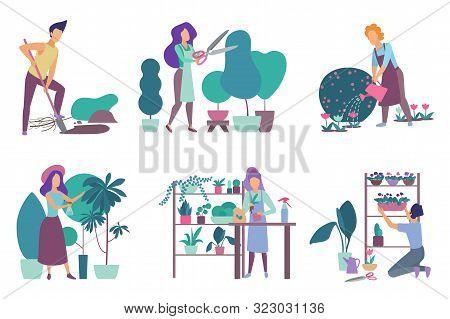 Gardening Flat Vector Illustrations Set. Flower Nursery And Floristry Hobby Isolated Pack On White B