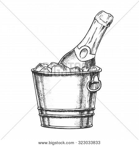 Champagne Bottle In Bucketful With Ice Ink Vector. Cold Sparkling Winery Alcoholic Champagne In Pail