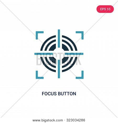 focus button icon in two color design style.