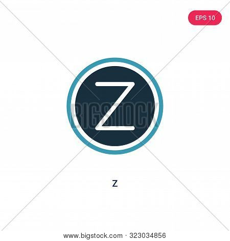 z icon in two color design style.