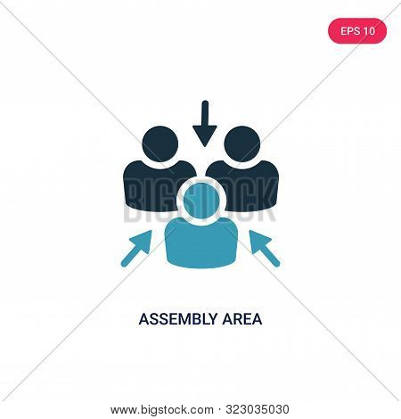 assembly area icon in two color design style. assembly area vector icon modern and trendy flat symbol for web site, mobile, app, logo, UI. assembly area colorful isolated icon on white background. assembly area icon simple vector illustration,