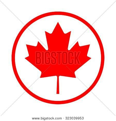 Maple Leaf Icon In A Circle. Maple Leaf Vector Illustration. The Symbol Of Canada Is A Red Maple Lea