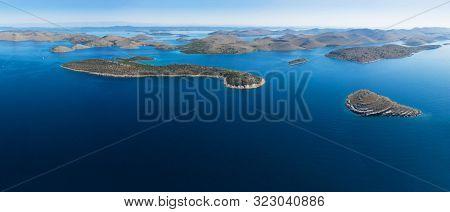 Aerial panoramic view of Kornati national park, Croatia. Extra wide view, high resolution image