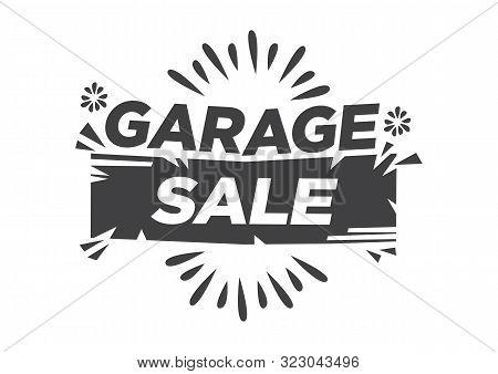 Garage Or Yard Sale Event Announcement Font Advertisement. Flat Vector Illustration.