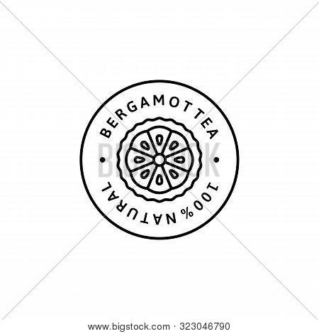 Bergamot Citrus Tea Icon In Trendy Linear Style. Vector Organic Bergamot Badges Of Packaging Design