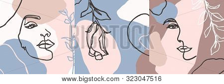 Set Of Womans Face Continuous Line Art. Abstract Contemporary Collage Of Geometric Shapes In A Moder