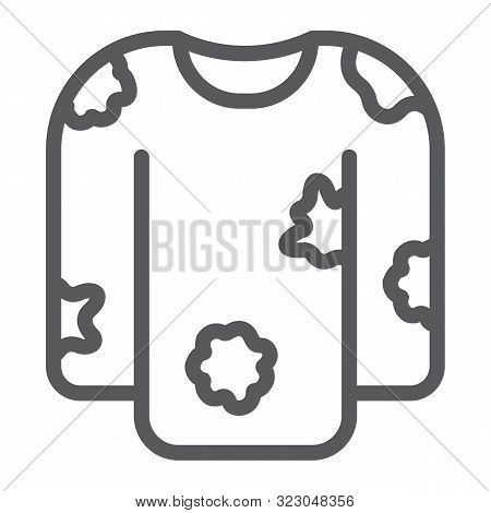 Dirty Laundry Line Icon, Laundry And Clothes, Untidy Shirt Sign, Vector Graphics, A Linear Pattern O