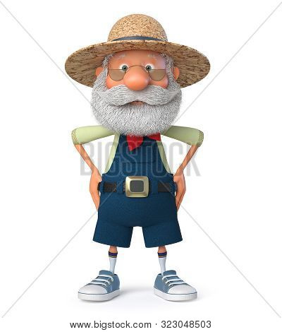 3d Illustration The Grandfather The Peasant Poses In Overalls/3d Illustration He Elderly Farmer Cost