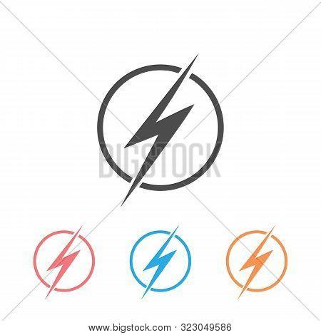Lightning, Electric Power Vector Logo. Icon Set Design Element. Energy And Thunder Electricity Symbo