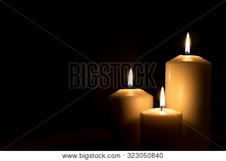 Christmas Advent Candle Light In Church With Blurry Golden Bokeh For Religious Ritual, Spiritual Zen