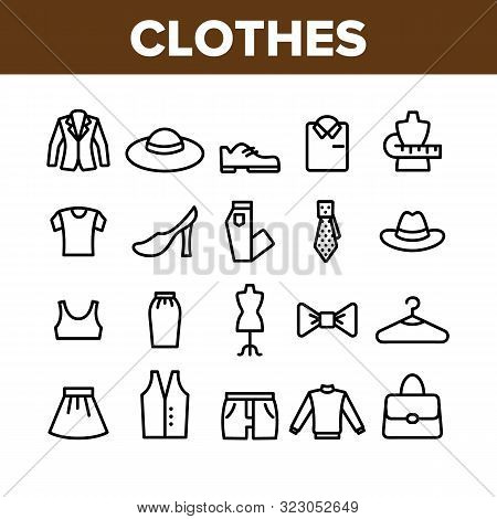 Fashion And Clothes Collection Icons Set Vector Thin Line. Shoes, Hat, Clothing Varieties And Access
