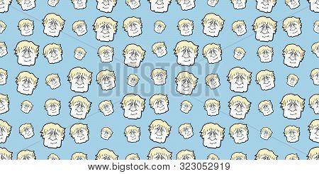 Seamless Caricature Background Of United Kingdom Prime Minister Boris Johnson
