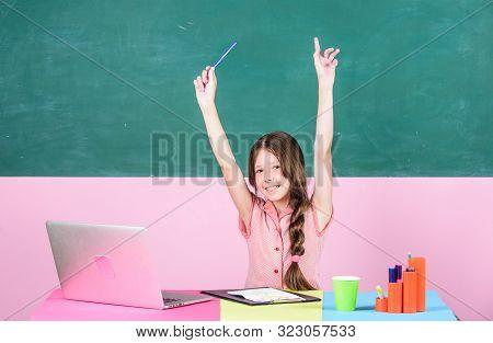 Online Course. Online School. Pupil Study Digital Technology. Educative Content. Schoolgirl Surfing