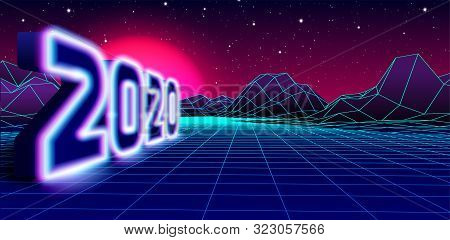 2020 Neon Sign For 80s Styled Retro New Years Eve Celebration With Arcade Game Grid Landscape And Pu