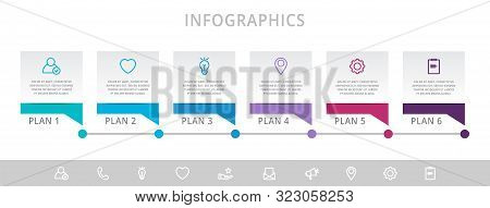 Vector Modern Infographic Flat Template Label For Six Diagrams, Graph, Presentation. Business Concep