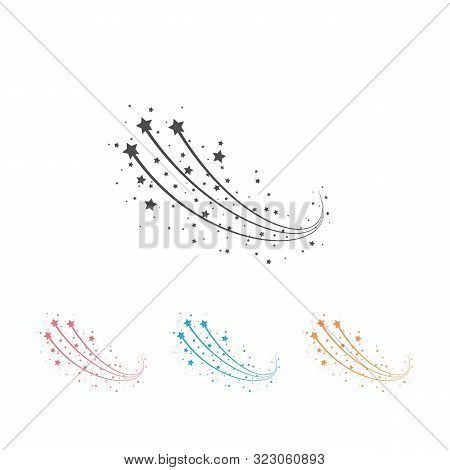 Abstract Falling Star - Black Shooting Star With Elegant Star Trail On White Background - Meteoroid,