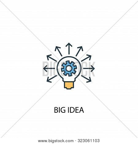 Big Idea Concept 2 Colored Line Icon. Simple Yellow And Blue Element Illustration. Big Idea Concept