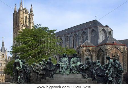 Statue Of The Van Eyck Brothers