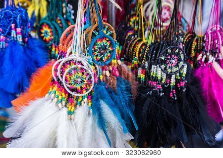 Decorations Of North American Indians On Sale At A Souvenir Shop