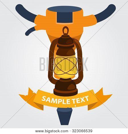 Miners Drill And Kerosene Lamp Icon. Vector Illustration.