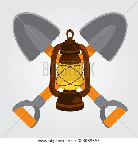 Shovel Mining And Kerosene Lamp Icon. Vector Illustration.