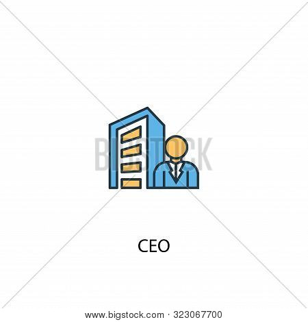Ceo Concept 2 Colored Line Icon. Simple Yellow And Blue Element Illustration. Ceo Concept Outline Sy